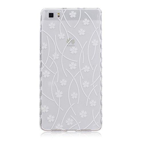 Voguecase® Per Apple iPhone 5 5G 5S, Custodia fit ultra sottile Silicone Morbido Flessibile TPU Custodia Case Cover Protettivo Skin Caso (Fiore pizzo) Con Stilo Penna piccolo bianco fiore 01