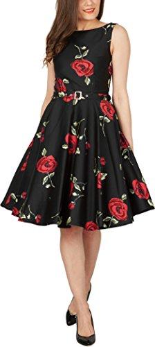 Black Butterfly 'Audrey' Vintage Infinity Kleid im 50er-Jahre-Stil Große Rote Rosen