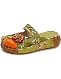 Gracosy Sandalias Planas de Mujer Sandalias Planas Sandalias Planas de Mujer de Slip-On Sandalias de Verano de Cuero de Slip-On Sandalias de Verano Sin respaldo de Colores de La Flor