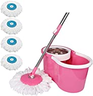DAIVE's ABI CLEANING SOLUTIONS 360 Degree Spin Floor Cleaning Bucket PVC Steel Mop with 4 Microfiber Refil