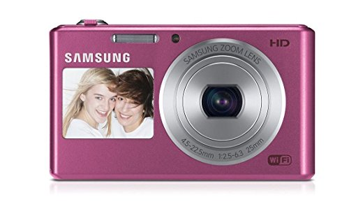 (Renewed) Samsung DV150F 16.2MP Smart WiFi Digital Camera with 5x Optical Zoom and 2.7-inch Front and 1.5-inch Rear Dual LCD Screen (Pink), 4GB Card, Camera Case