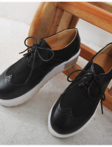 ZQ Scarpe Donna - Stringate - Casual - Punta arrotondata - Piatto - Finta pelle - Nero / Bianco , black-us6 / eu36 / uk4 / cn36 , black-us6 / eu36 / uk4 / cn36 white-us7.5 / eu38 / uk5.5 / cn38