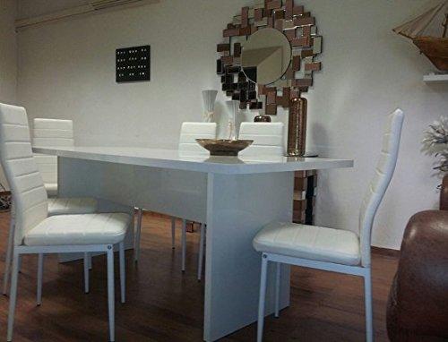 Sararreda Table Bois Laqué-Blanc Laque de Cuisine Salon Bureau