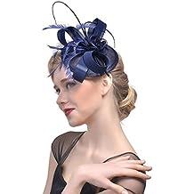 dressfan Elegante Diadema Fascindor Sombrero Fiesta de Cóctel Sombrero  Pequeño Sombrero Tocado Banquete Novia Adornos Para 2c31c4003f3