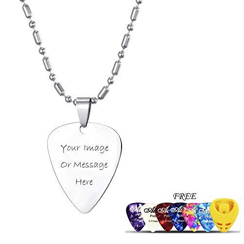 Personalisierte Plektrum-Halskette mit Foto und Text, benutzerdefinierte Edelstahl-Plektrum-Halskette für Männer und Frauen - zusätzliches Geschenk 6 STK. Buntes Plektrum/Plektrum