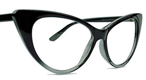 50er Jahre Damen Brille Cat Eye Nerdbrille Klarglas Brillengestell FARBWAHL KE (Schwarz Ombre)