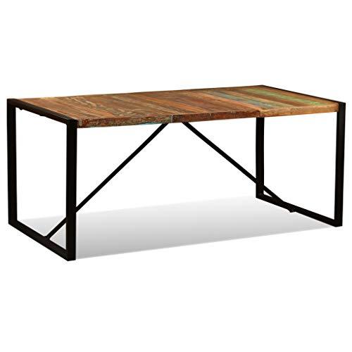 Festnight Esszimmertisch Esstisch Küchentisch Tischplatte aus Recyceltes Massivholz Tisch mit Stahlbeine 180 x 90 x 76 cm
