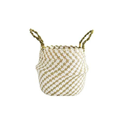 Gezellig Vesper Baskets Nordic Seaweed Weaving Blumenkorb Blumentopf Bambus faltender Speicher-Korb Spielzeug Hamper, Groß wie Pic