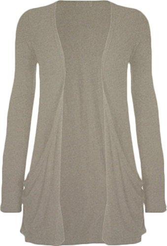 Freund femmes plus size jumper veste en tricot à manches longues en tricot poche sur le dessus Light Grey-New