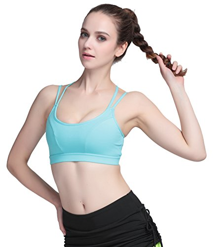 Running Girl Women's Sports Bra Quick Drying Medium Impact Removable Padded Tops Backless Gym Crop Yoga Workout Vest Hellblau