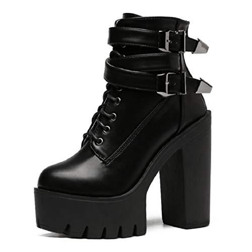 LIANGXIE Damen Frauen Ankle Winter Bikerstiefel/Gothic Rock Punk Stiefel Plattform Block Chunky Heels Modedin Beine mit Reißverschluss Schnalle Martin Short Boots,Black,38
