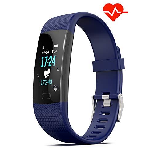 Pulsera Deporte HR, Y1 Pulsera de Actividad Inteligente con Monitor de Frecuencia Cardíaca, Pedómetro A Prueba de Agua IP67 Contador de Pasos y Monitor de Sueño para Android y iPhone (Azul)