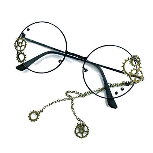 Hibote Männer Frauen Steampunk Brille - Klare Linse Brillengestell - Runde Brillen 122910