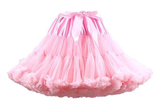 Facent Damen Tütü Tüllrock Midirock Unterrock Tüll Glockenrock Reifrock Underskirt Petticoat Kleid Rosa