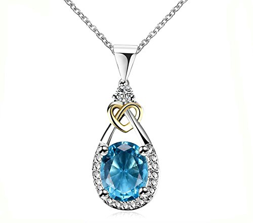 Daesar Damen Kette mit Anhänger Edelstahl Blau Tropfen Zirkonia Silber Kette Halskette 45CM
