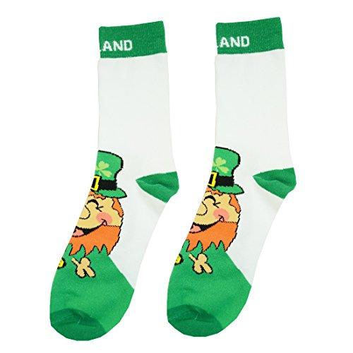 """Preisvergleich Produktbild Weiße Socken mit glücklichem,  irischem,  lachendem Kobold und """"Irland""""-Aufschrift"""