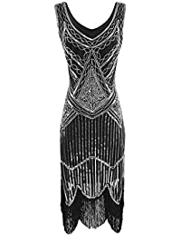 15005a41 Beonzale Womens Retro 1920s V Neck Beaded Fringed Gatsby Theme Flapper Prom  Dress