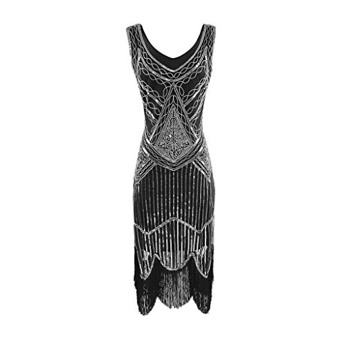 SANFASHION Damen Kleid Retro 1920s Stil Flapper Kleider voller Pailletten Runder Ausschnitt Great Gatsby Motto Party Kleider Damen Kostüm Kleid - Nylon Bolero