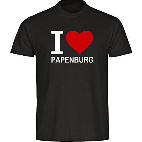 T-Shirt Classic I Love Papenburg schwarz Herren Gr. S bis 5XL - Lustig Witzig Sprüche Party Funshirt, Größe:XL