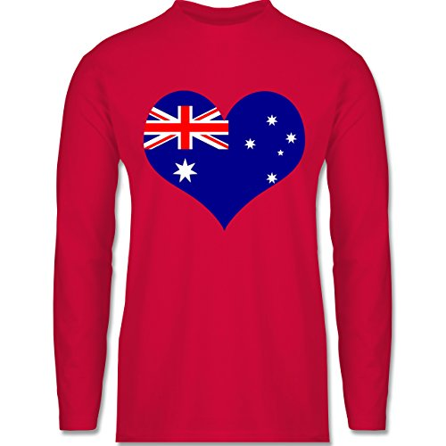 Shirtracer Länder - Herz Australien - Herren Langarmshirt Rot