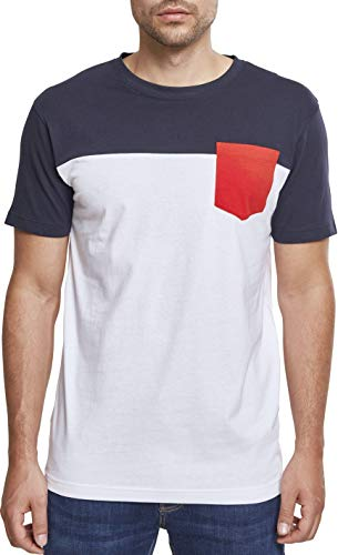 3-Tone Pocket Tee, M, wht/cha/gry, white/navy/fire red Red Chaos