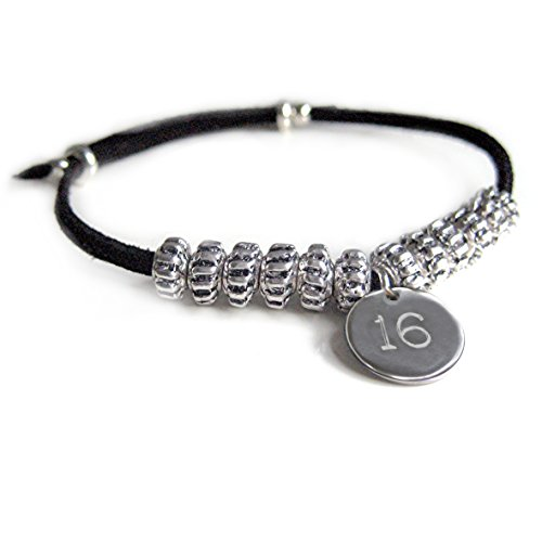 Mens Stud Suede Bracelet-BLACK-16TH Birthday-Mens Gift-Engraved-Boys