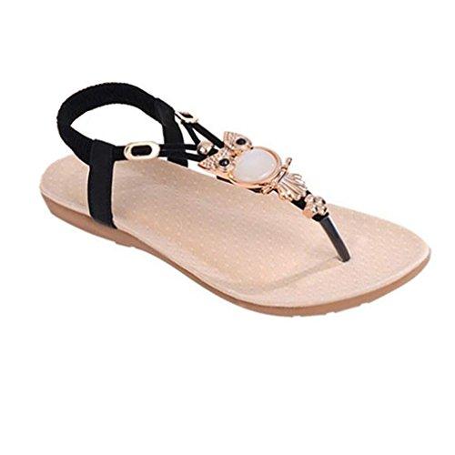 Calzado de mujer,Amlaiworld Diamantes de imitación Búho dulce zapatos de las sandalias del dedo del pie del clip Beach (38)