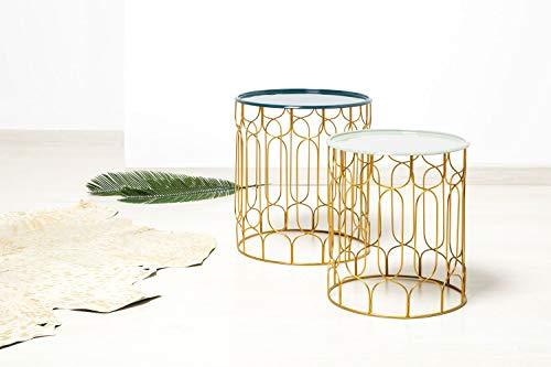 One Couture BEISTELLTISCH-Set Design Retro Designer COUCHTISCH 2ER Petrol Hellgrau
