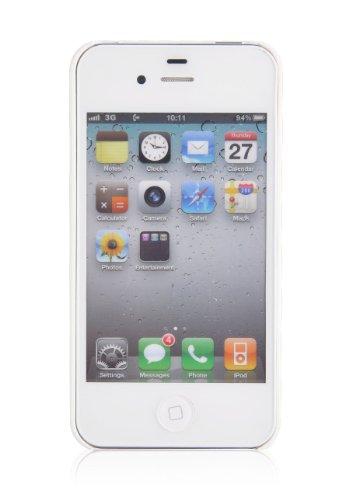 JAMMYLIZARD | Coque iPhone 4s - Coque iPhone 4 back cover ridige original papillons fleurs argenté, Blanc & argent Fluorescent - VANILLE