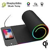 Tappetino per mouse di ricarica senza fili/Gaming morbido per mouse RGB/Tappetino per tastiera antiscivolo/7 Colorato L-E-D Light/Caricabatterie rapido 3-in-1 10W per iPhone Samsung (31,5 x10,6 '')