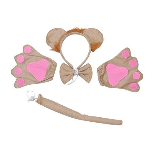 Löwe Kostüm Freundliche - TOYANDONA Löwe Cosplay Kostüm weiche Plüschtiere Ohren Stirnband Schwanz Pfoten Halloween Cosplay Zubehör