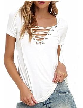 SHUNLIU Camisetas Mujer Tallas Grandes Mujer Camiseta de Manga Corta Blusa Ocasional V-Cuello T-shirt Color Sólido...
