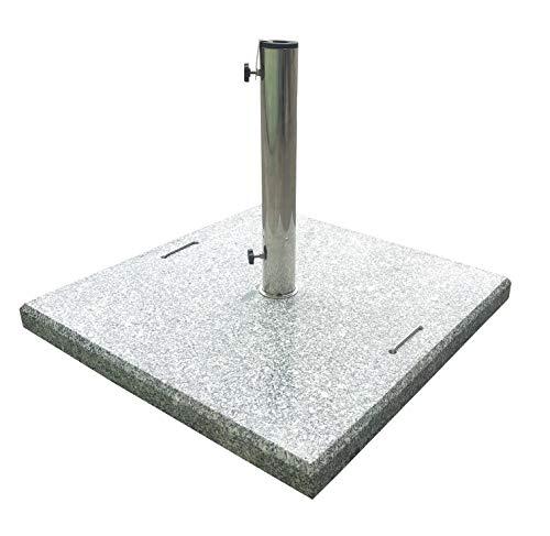 Pure Home & Garden 90 kg XXL Granit Schirmständer Rock, mit Rollen und Reduzierringen -