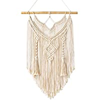 Mkouo Macrame Wall Hanging Tapestry Wall Decor Boho Chic Bohemian Woven Home Decoration, 43cm (W) x 66cm (L)