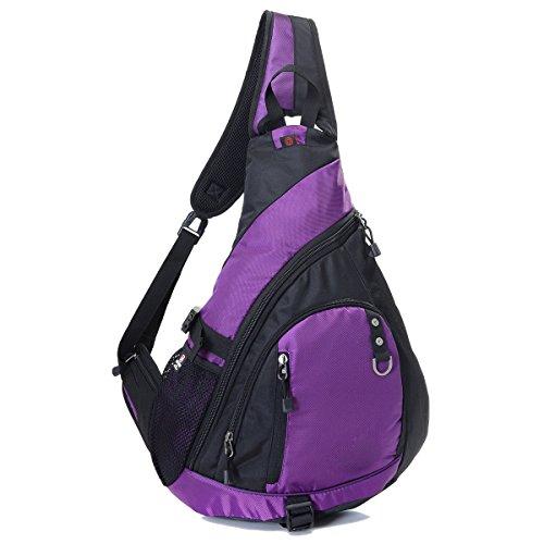 BULAGE Pack Brustbeutel Sport Ausflüge Outdoor Schulter Männer Und Frauen Kurier Rucksack Kopfhöreranschluss Atmungsaktiv Studenten Purple