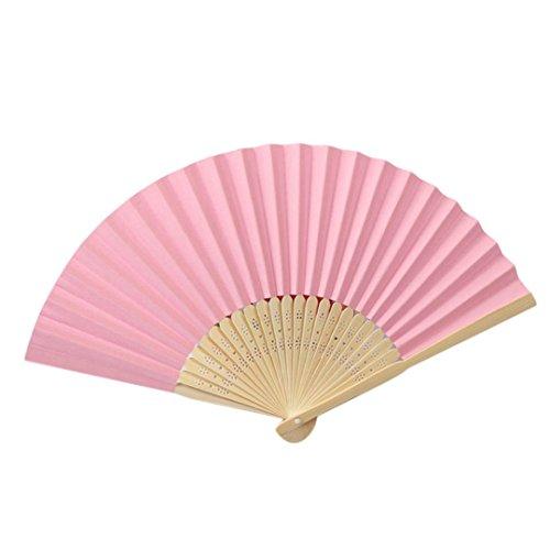 QinMM Muster faltende Tanzhochzeits-Partei-Spitze-Silk faltender Handeinfarbfan Party Tasche Geschenke (Rosa)