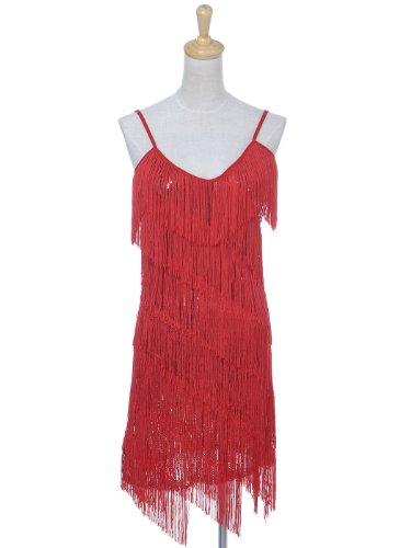 Anna-Kaci donna Cinghia del Sequin del Fringe del vestito da partito del Flapper Backless 1920s impero Vestito Rosso