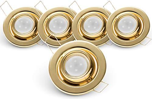Brollux LED Deckenleuchten 5er Set I Runde LED Strahler I Schwenkbare LED Einbaustrahler in warmweiß I Austauschbare LED Beleuchtung Energieklasse A+ (MR11 I 2,4W I 230V) - 3 Stück Spiegel