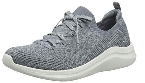Skechers Damen Ultra Flex 2.0-Flash Illusion Sneaker, ((Gray Knit Mesh/White Trim Gry), 6.5 EU -