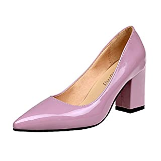 Clearance Sale!OverDose Women's Fashion Square Heel Shoes Pointed Toe Shallow High-Heeled Shoes