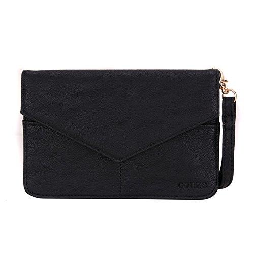 conze de femmes d'embrayage portefeuille tout ce sac avec bretelles pour Smart Téléphone pour Wiko Rainbow/Getaway/Lenny gris noir