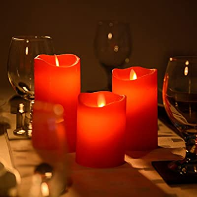 3 x Flameless Wax LED Flickering Candles Dancing Battery Mood Lights from Flicker Flame