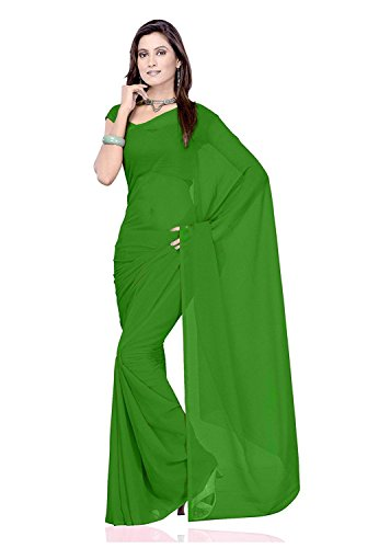 Modential Women's Green Color Plain Georgette Saree With Sparkel Blouse Piece.(Plain Green)