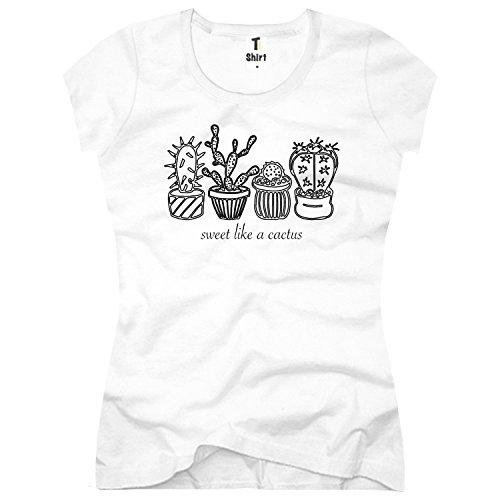 TEE-Shirt, Damen T-Shirt mit Aufdruck . Coole Motive. T-Shirt mit Kaktus , Spruch Druck. Größe XXL,Weiß (Cactus Damen-t-shirts)