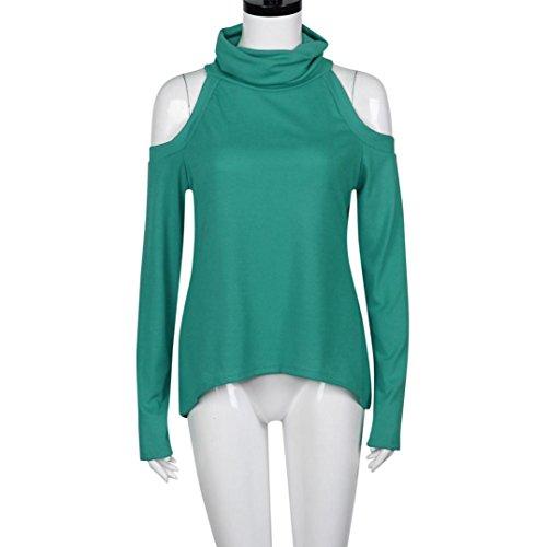 Amlaiworld Damen lange Ärmel Bluse Ab Schulter T-Shirt Bluse lässig lockere Baumwoll Tops Grün