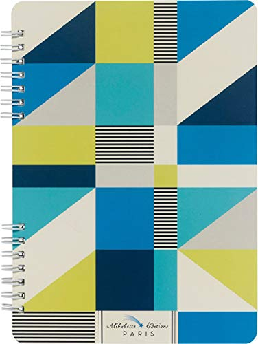 e35a3224ba541 Cubic: Geometic Shapes of Blue, Green & White (Double Spiral Lined Journals  - Lays Flat When Open)