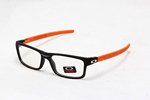 Occhiali sportivi Super trendy squadrate, elegante trasparente lenti occhiali, Uomo, Black/Orange, Taglia unica