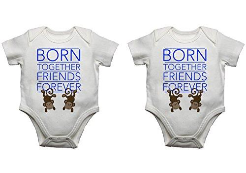Juego de chalecos para bebé, diseño con texto'Born Together Friends Forever' (6 – 9 meses, azul/azul)