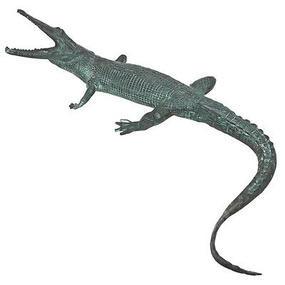 Design Toscano Schnappender Alligator, Gartenstatue aus Bronzeguss