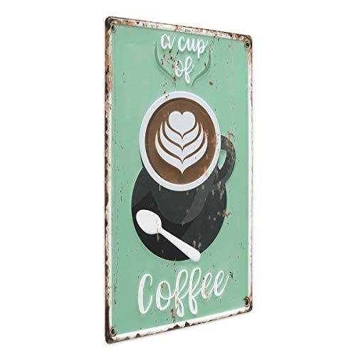 PHOTOLINI Blechschild Coffee Cup 30x40 cm Vintage Küchenschild Metallschild Kaffee-Bild Vintage Coffee Cups